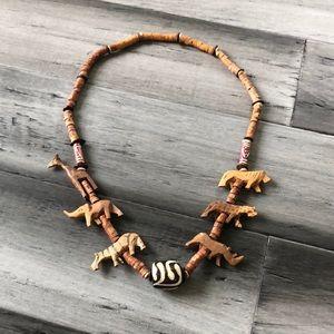 Vintage 80's Wooden Carved Animal Necklace